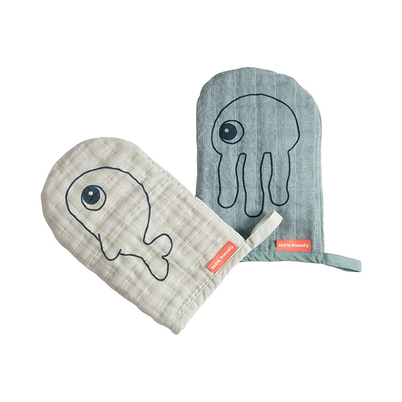 Picture of Done by Deer®  Wash cloth 2-pack Sea friends Blue