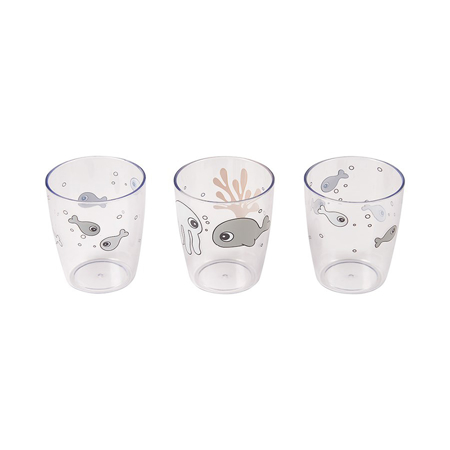Picture of Done by Deer® Yummy mini glass 3 pcs Sea friends Mustard/Grey
