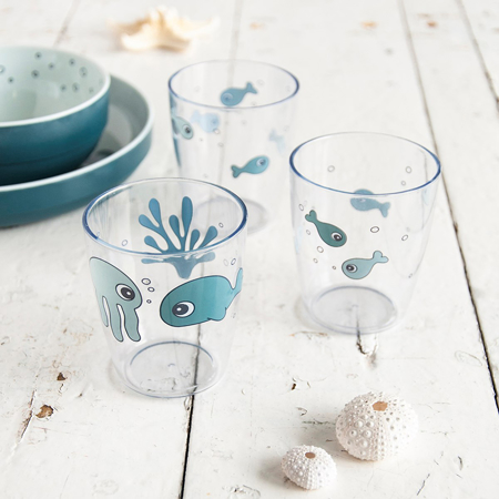Done by Deer® Yummy mini glass 3 pcs Sea friends Blue