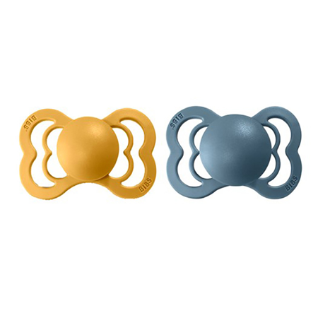 Picture of Bibs® Baby Pacifier Supreme Silicone Mustard & Petrol 1 (0-6m)