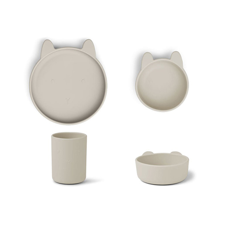 Picture of Liewood® Cyrus Silicone Tableware 3 pack Junior Rabbit Sandy