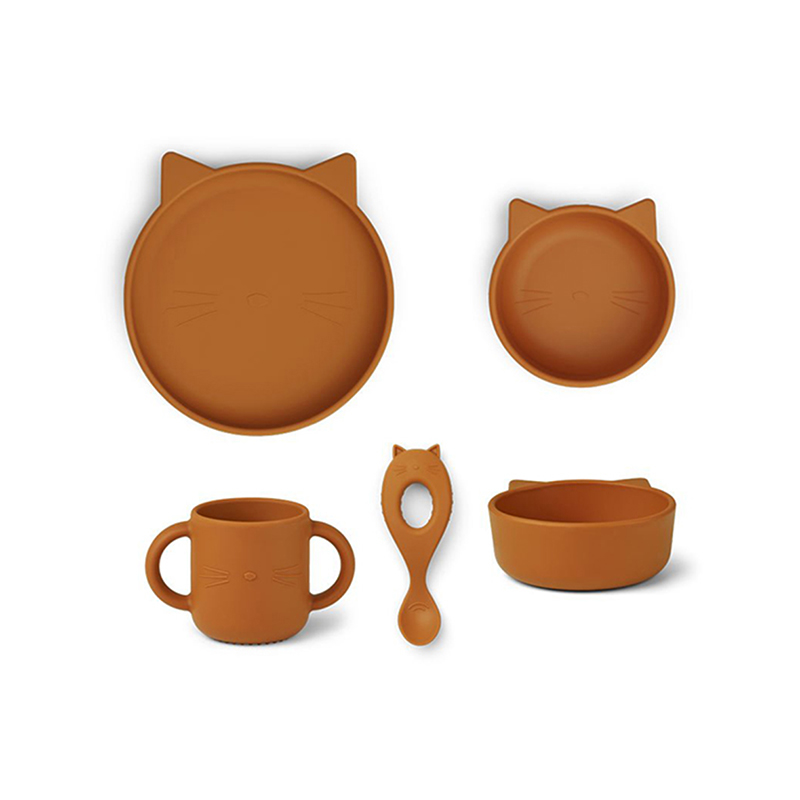 Picture of Liewood® Vivi Silicone Tableware 4 pack Baby Cat Mustard