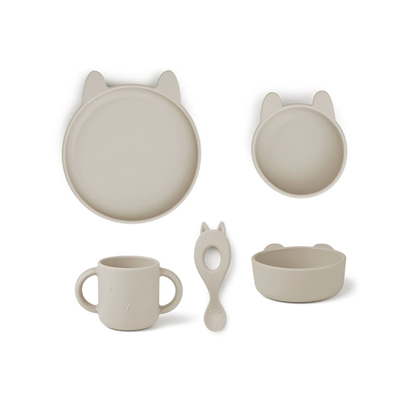 Picture of Liewood® Vivi Silicone Tableware 4 pack Baby Rabbit Sandy