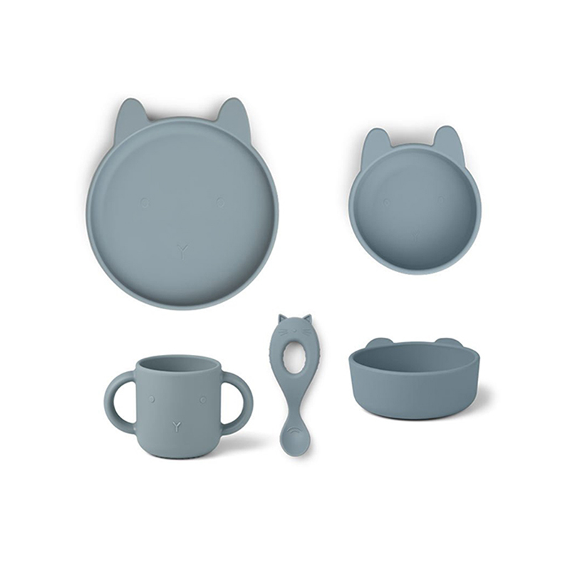 Picture of Liewood® Vivi Silicone Tableware 4 pack Baby Rabbit Sea Blue
