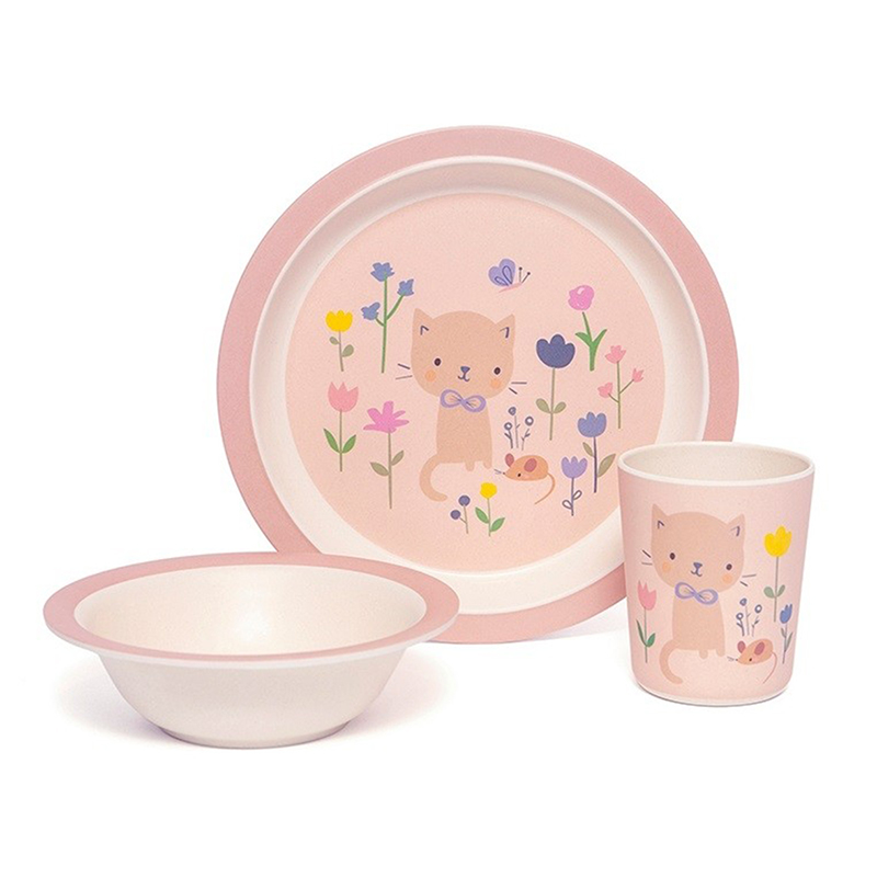 Picture of Petit Monkey® Bamboo tableware gift set Cat