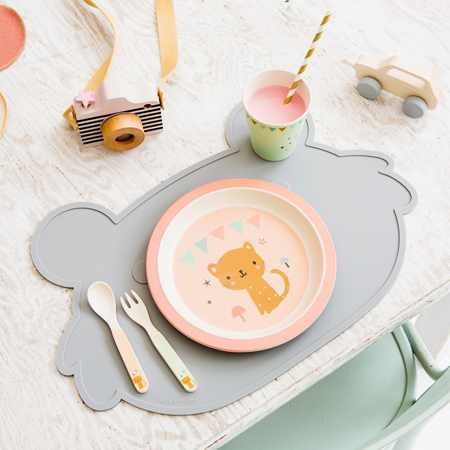 Picture of Petit Monkey® Bamboo Cutlery set Snail Grey