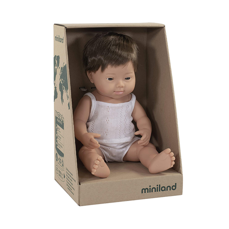Miniland® Baby doll Brown Hair Boy 38cm