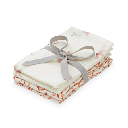 Picture of CamCam® Musling Cloth Windflower Creme & Caramel Leaves 4pack 30x30