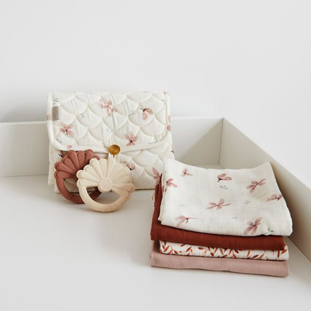 CamCam® Musling Cloth Windflower Creme & Caramel Leaves 4pack 30x30