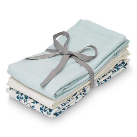 Picture of CamCam® Musling Cloth - Mix Fiori, Light Blue, Creme White 3pack