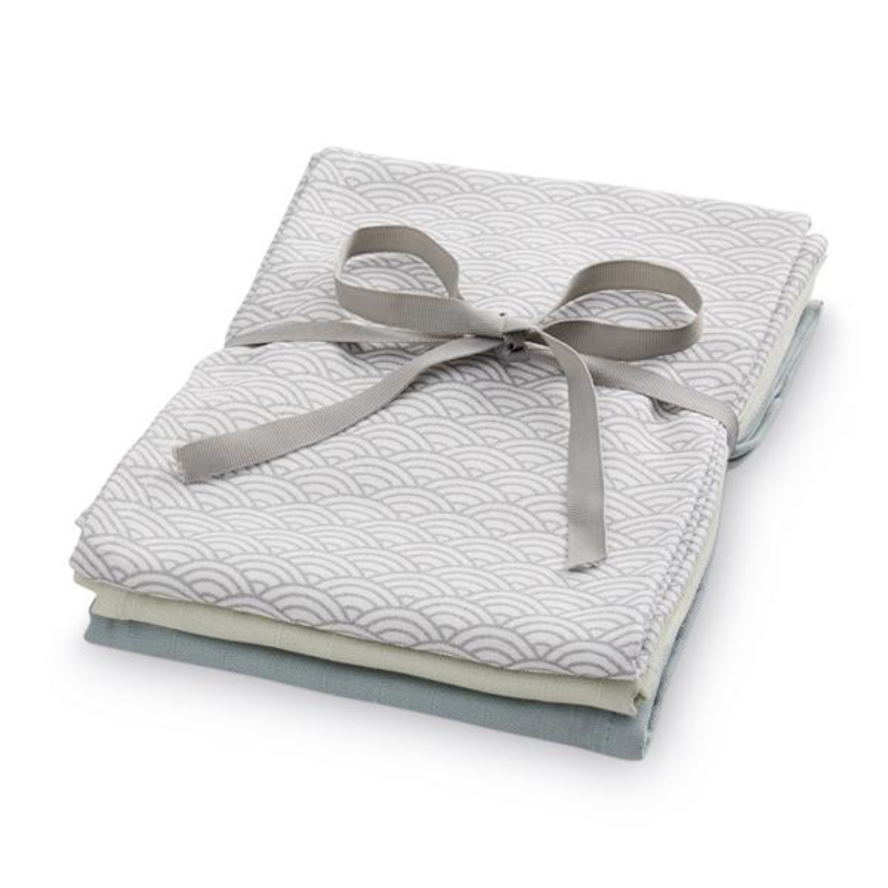 Picture of CamCam® Musling Cloth - Mix Grey Wave Medium, Petroleum, Mint 3pack