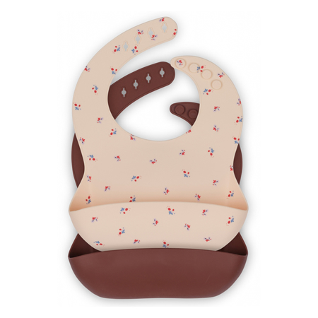 Picture of Konges Sløjd® Baby bib Silicone 2 pack Bloom/Bordeaux