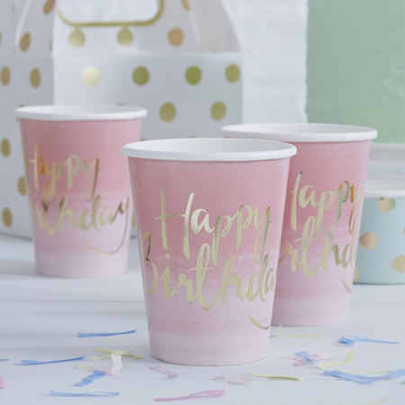 Picture of Ginger Ray® Pink Ombre Happy Birthday Party Cups