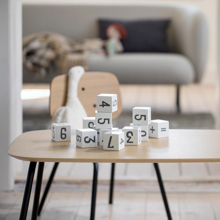 Sebra® Wooden number blocks White/Classic grey