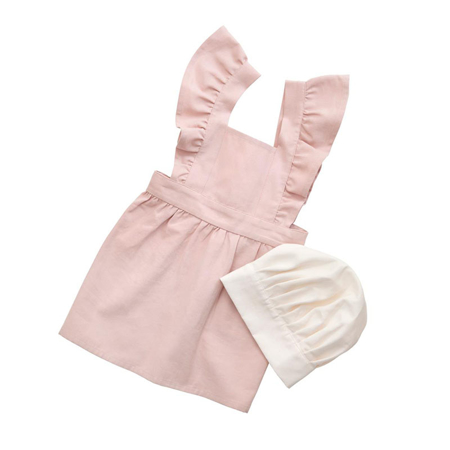 Picture of Sebra® Apron and hat set Dusty Pink/Classic white