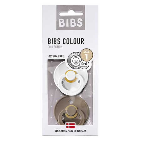 Picture of Bibs® Natural Rubber Baby Pacifier  White & Dark Oak 1 (0-6m)