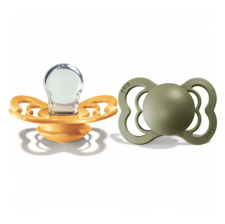 Picture of Bibs® Baby Pacifier Supreme Silicone Honey Bee & Olive 2 (6-36m)