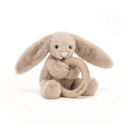 Picture of Jellycat® Bashful Beige Bunny Wooden Ring Toy 13cm