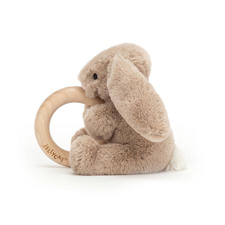 Jellycat® Bashful Beige Bunny Wooden Ring Toy 13cm