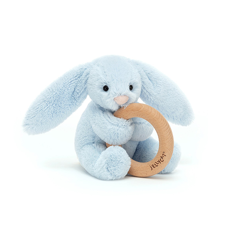 Picture of Jellycat® Bashful Blue Bunny Wooden Ring Toy 13cm