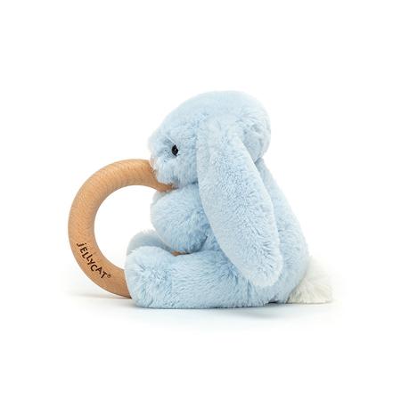 Jellycat® Bashful Blue Bunny Wooden Ring Toy 13cm