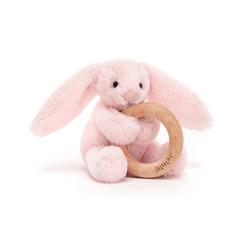 Picture of Jellycat® Bashful Pink Bunny Wooden Ring Toy 13cm