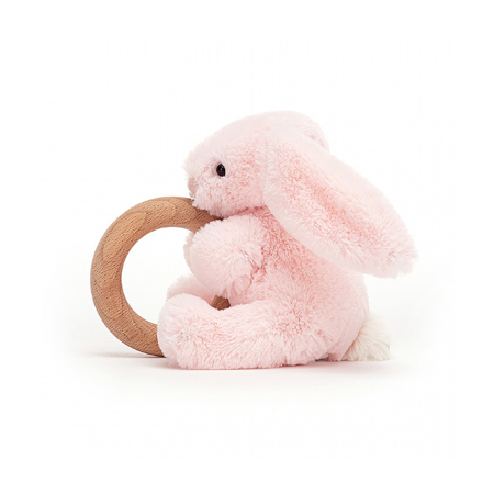 Jellycat® Bashful Pink Bunny Wooden Ring Toy 13cm