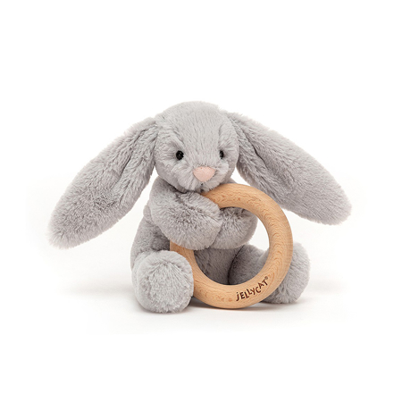 Picture of Jellycat® Bashful Silver Bunny Wooden Ring Toy 13cm