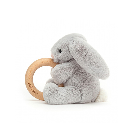 Jellycat® Bashful Silver Bunny Wooden Ring Toy 13cm