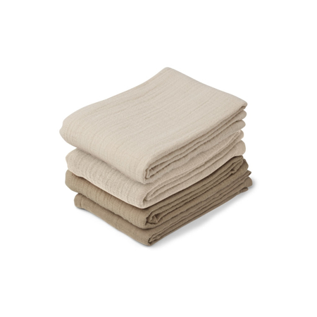 Picture of Liewood® Leon Muslin Cloth 4 Pack - Natural/Sandy Mix