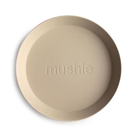Mushie® Round Dinnerware Plate Set of 2 Vanilla