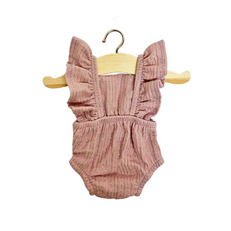 Picture of Minikane® Romper retro Lou cotton double gauze Lurex Rose 34cm