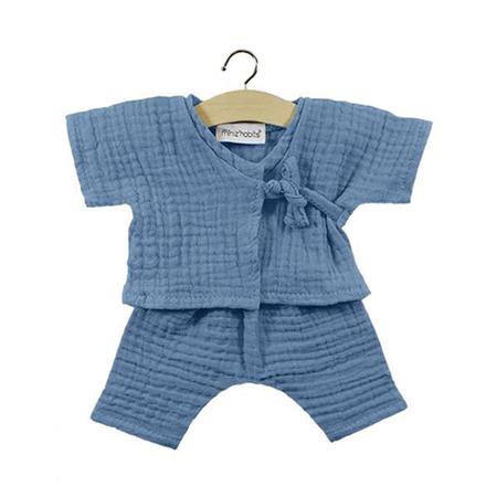 Picture of Minikane® Cotton double gauze Kimono Niko Bleu artic 34cm