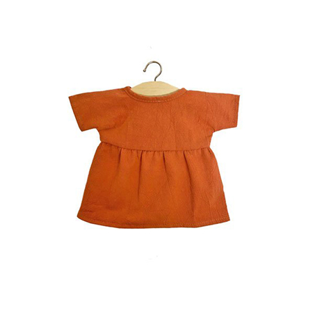 Minikane® Faustine dress in organic cotton Terre de Sienne 34cm