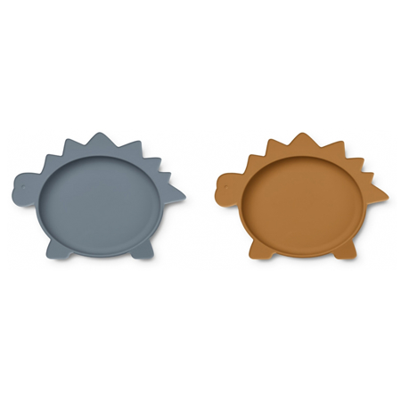 Picture of Liewood® Olivia Plate 2 Pack - Dino Blue Wave/Mustard Mix