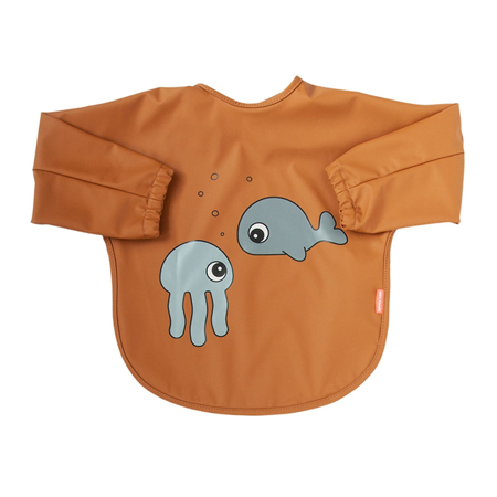Picture of Done by Deer® Sleeved bib Sea friends Mustard6-18m