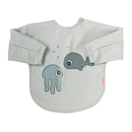 Picture of Done by Deer® Sleeved bib Sea friends Grey 6-18m