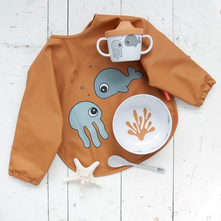 Picture of Done by Deer® Sleeved bib Sea friends Mustard6-18m