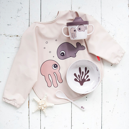 Picture of Done by Deer® Sleeved bib Sea friends Powder 6-18m