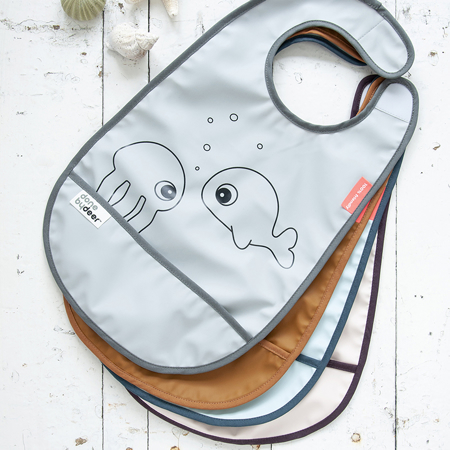 Picture of Done By Deer® Bib With Velcro Sea friends Grey