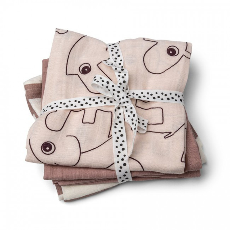 Picture of Done by Deer® Burp cloth 3-pack Deer friends Powder 70x70