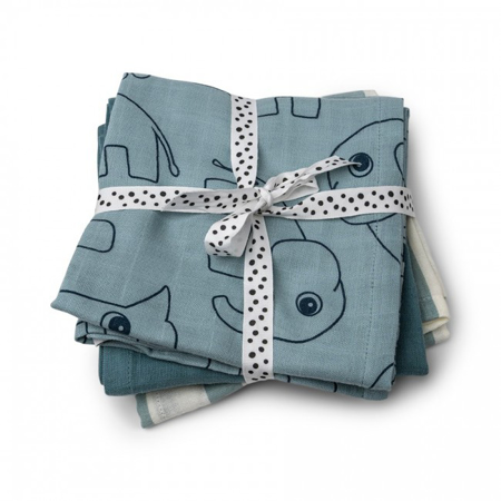 Picture of Done by Deer® Burp cloth 3-pack Deer friends Blue 70x70