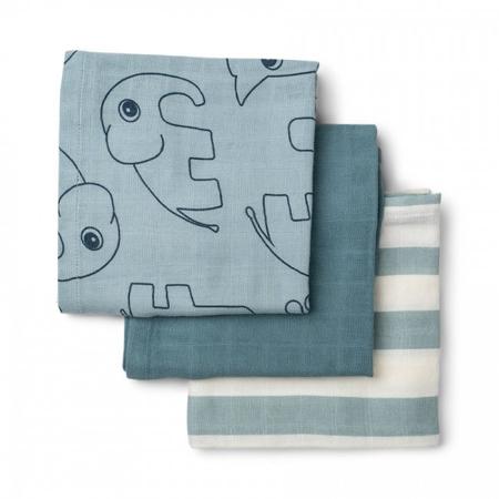 Done by Deer® Burp cloth 3-pack Deer friends Blue 70x70