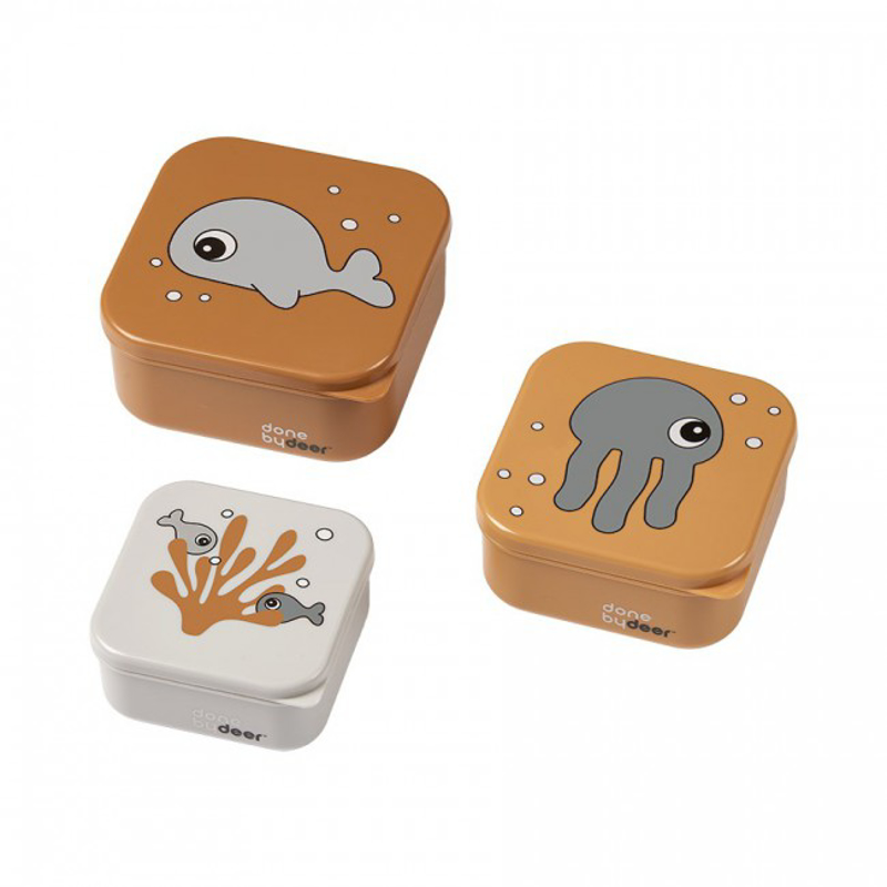 Picture of Done By Deer® Snack Box Set 3-Pcs Sea friends Mustard/Grey
