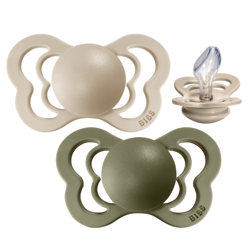 Picture of Bibs® Baby Pacifier Couture Silicone Olive & Vanilla 2 (6-18m)
