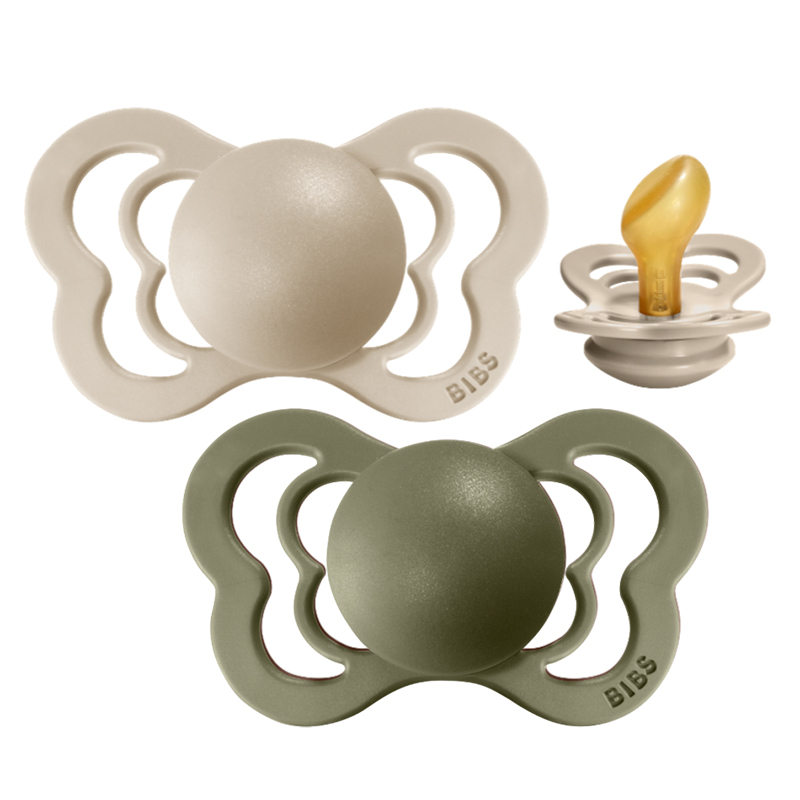 Picture of Bibs® Baby Pacifier Couture Latex Olive & Vanilla 1 (0-6m)