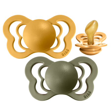 Picture of Bibs® Baby Pacifier Couture Latex Honey Bee & Olive 1 (0-6m)