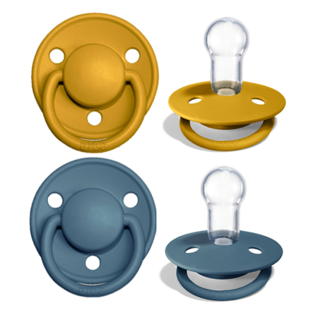 Picture of Bibs® Baby Pacifier De Lux Silicone Mustard & Petrol (0-36m)