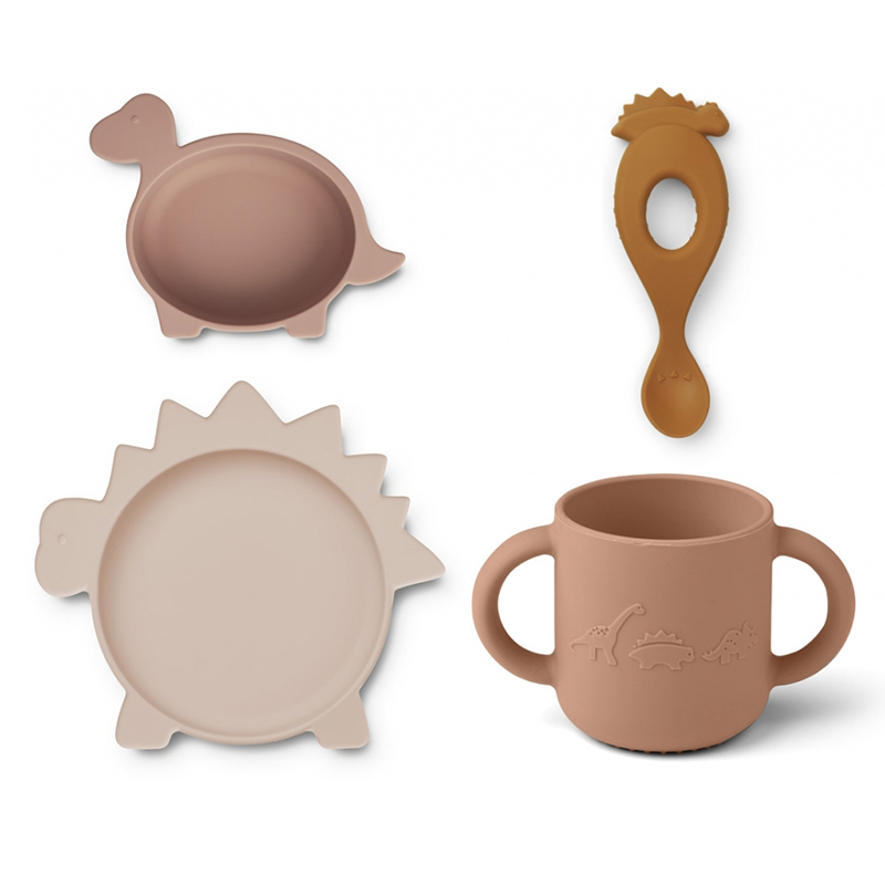 Picture of Liewood® Vivi Silicone Tableware 4 pack Baby Dino Rose Multi Mix