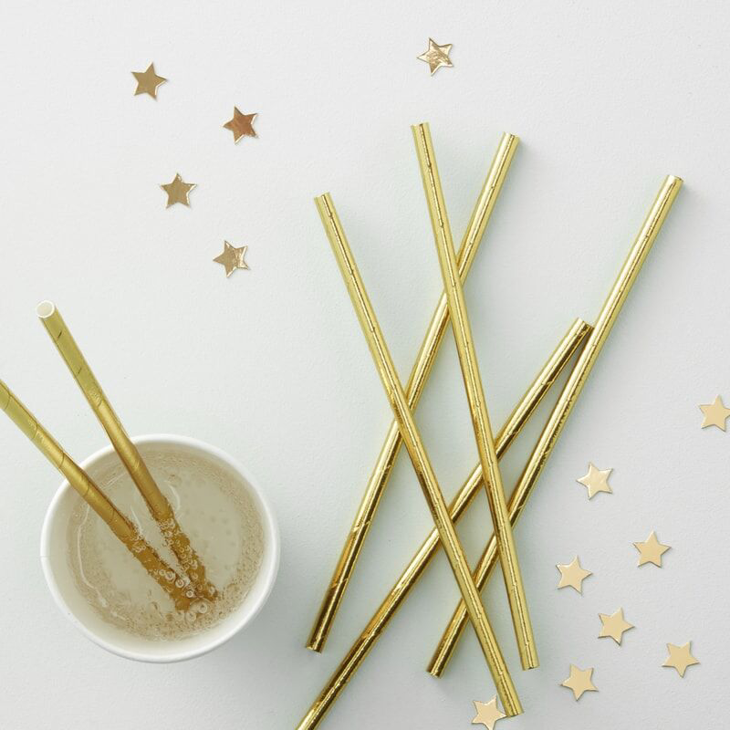 Picture of Ginger Ray® Gold foiled straws